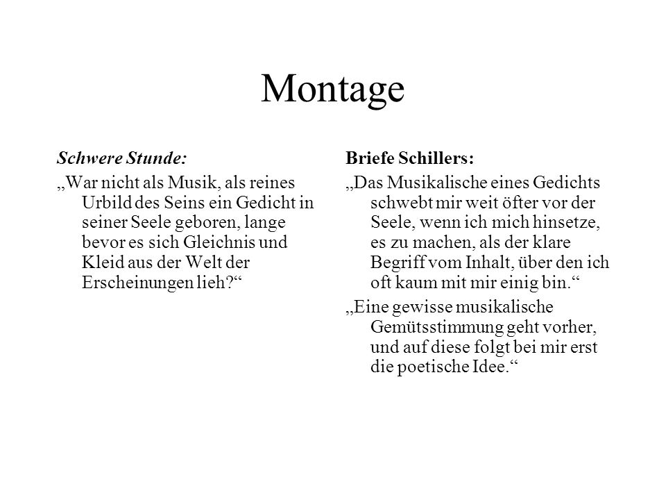 Montage Schwere Stunde: