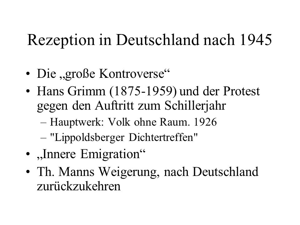 Rezeption in Deutschland nach 1945