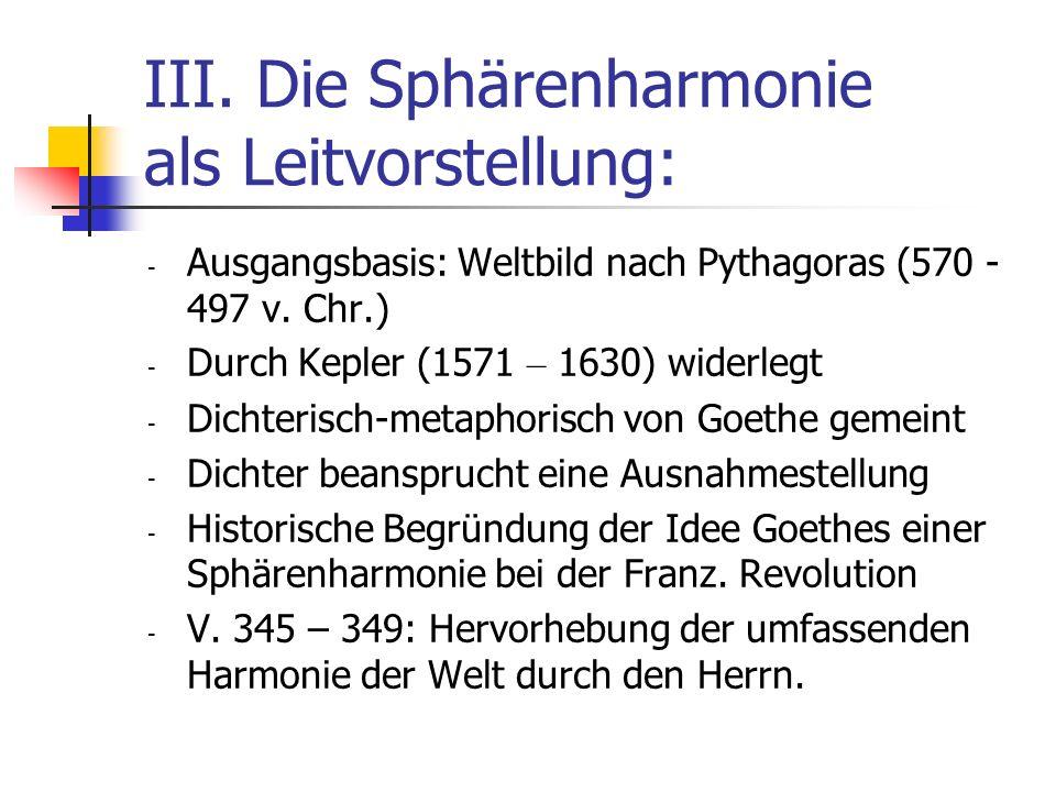 III. Die Sphärenharmonie als Leitvorstellung: