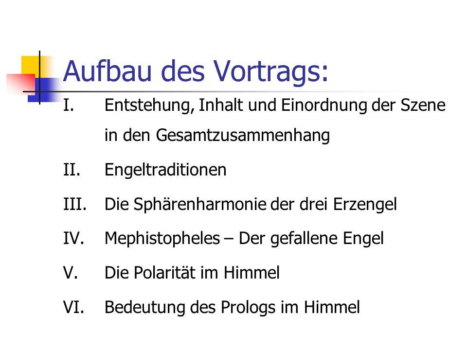 Aufbau des Vortrags: Entstehung, Inhalt und Einordnung der Szene in den Gesamtzusammenhang. Engeltraditionen.