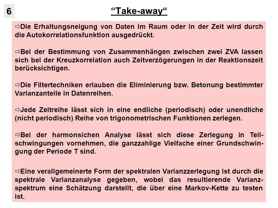 Take-away 6. Die Erhaltungsneigung von Daten im Raum oder in der Zeit wird durch die Autokorrelationsfunktion ausgedrückt.