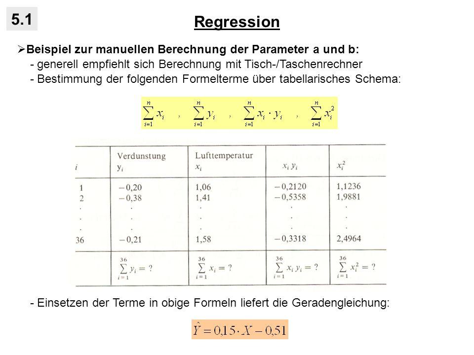 Regression 5.1. Beispiel zur manuellen Berechnung der Parameter a und b: - generell empfiehlt sich Berechnung mit Tisch-/Taschenrechner.