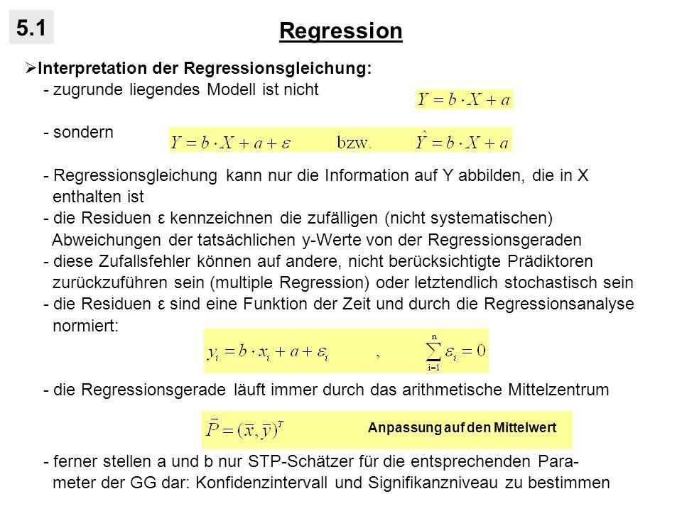 Regression 5.1 Interpretation der Regressionsgleichung: