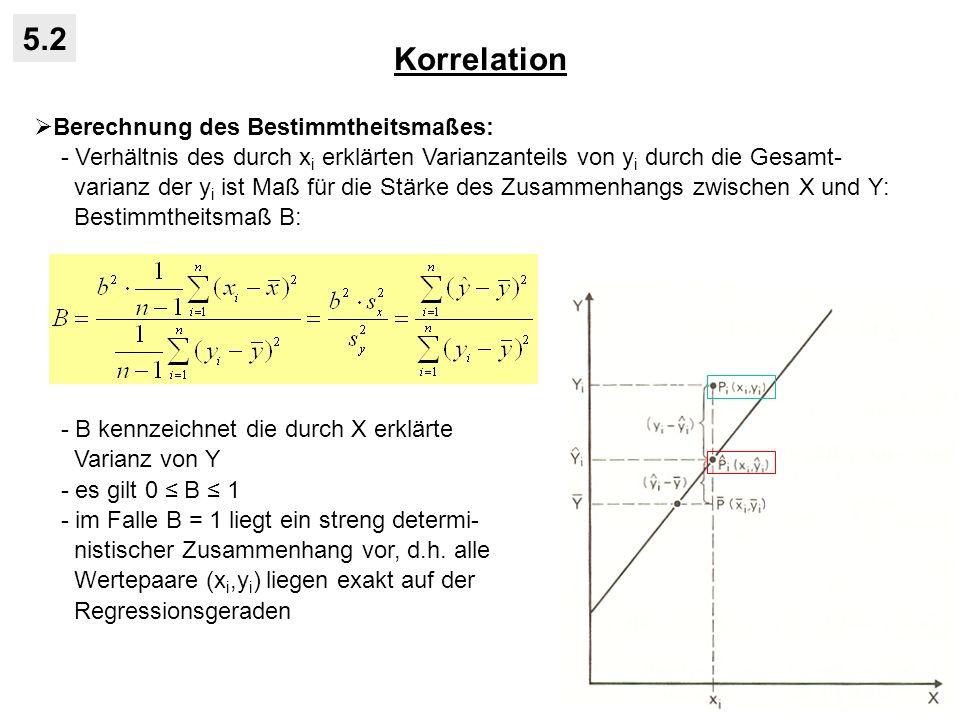 5.2 Korrelation Berechnung des Bestimmtheitsmaßes: