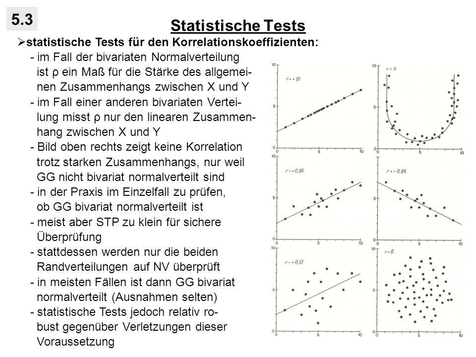 Statistische Tests 5.3. statistische Tests für den Korrelationskoeffizienten: - im Fall der bivariaten Normalverteilung.