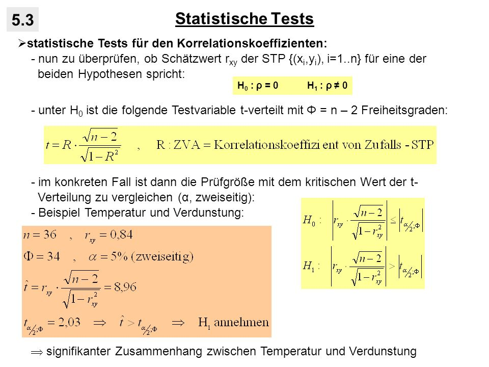 Statistische Tests 5.3. statistische Tests für den Korrelationskoeffizienten: