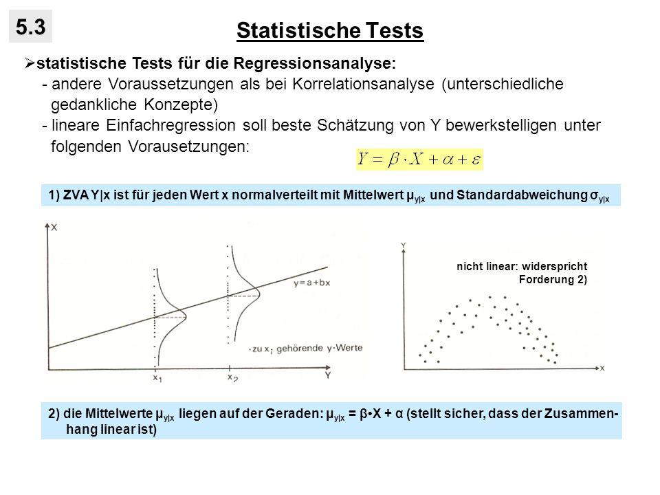 Statistische Tests 5.3 statistische Tests für die Regressionsanalyse: