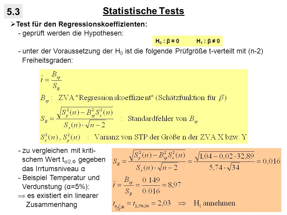 Statistische Tests 5.3 Test für den Regressionskoeffizienten: