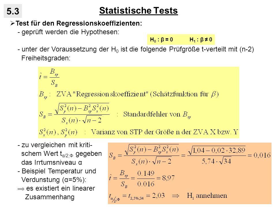 Statistische Tests 5.3 Test für den Regressionskoeffizienten: