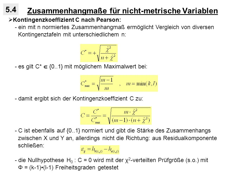 Zusammenhangmaße für nicht-metrische Variablen
