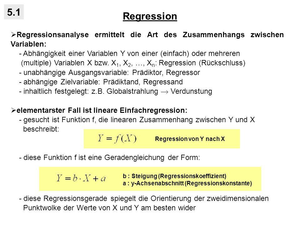 Regression 5.1. Regressionsanalyse ermittelt die Art des Zusammenhangs zwischen Variablen: