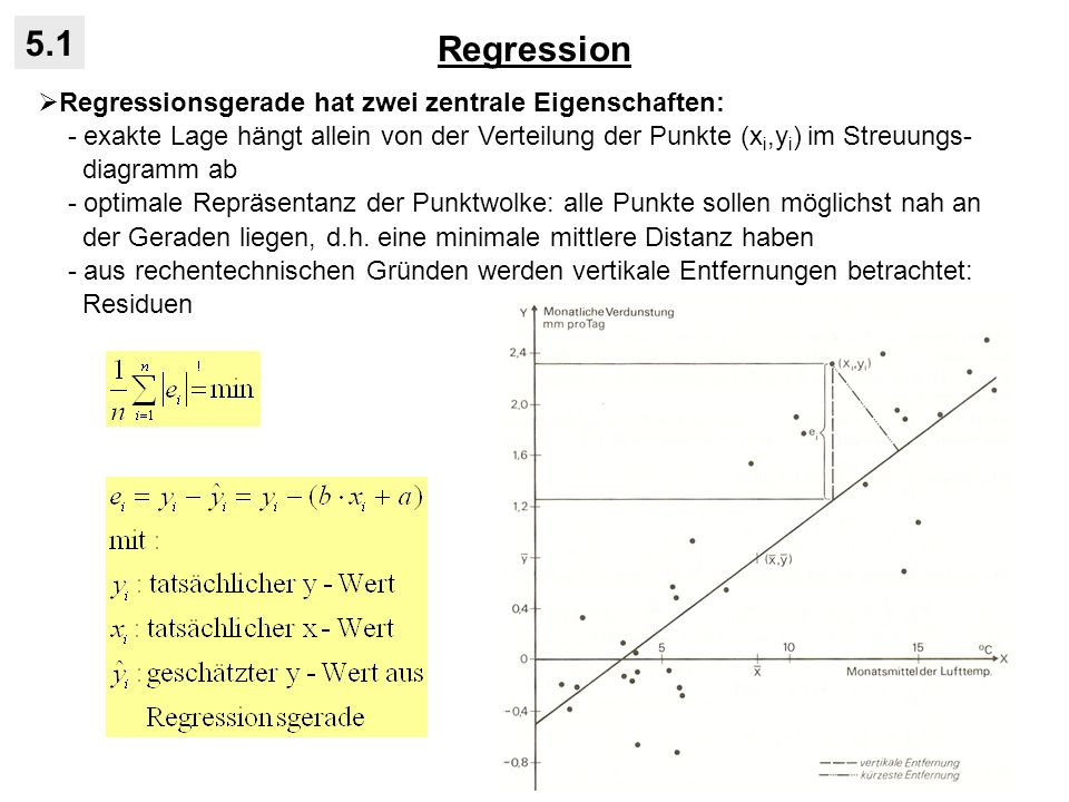 Regression 5.1 Regressionsgerade hat zwei zentrale Eigenschaften: