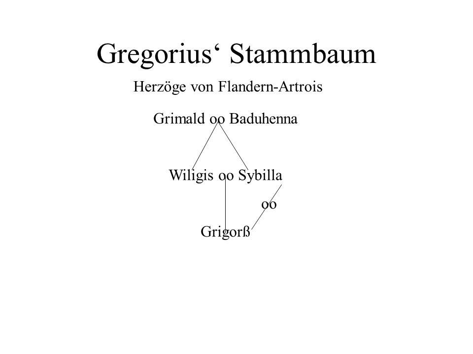 Gregorius' Stammbaum Herzöge von Flandern-Artrois Grimald oo Baduhenna