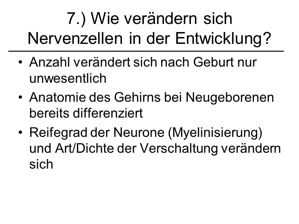 7.) Wie verändern sich Nervenzellen in der Entwicklung