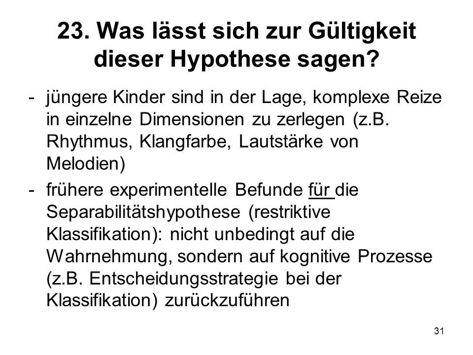 23. Was lässt sich zur Gültigkeit dieser Hypothese sagen