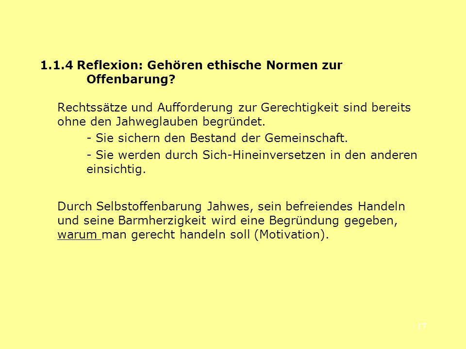 1.1.4 Reflexion: Gehören ethische Normen zur Offenbarung