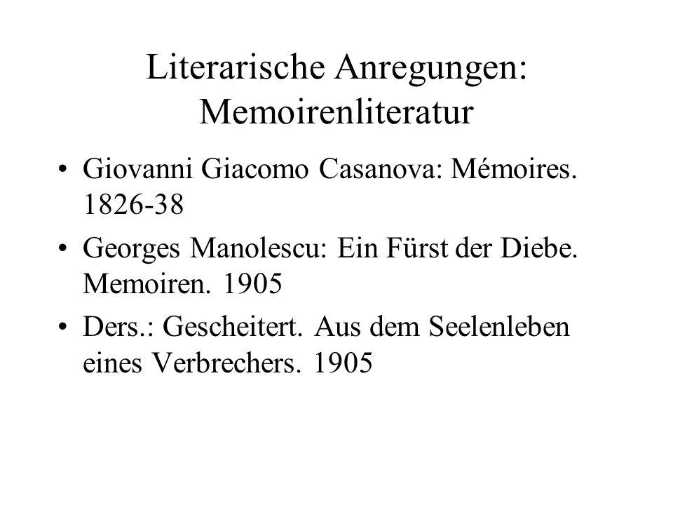 Literarische Anregungen: Memoirenliteratur