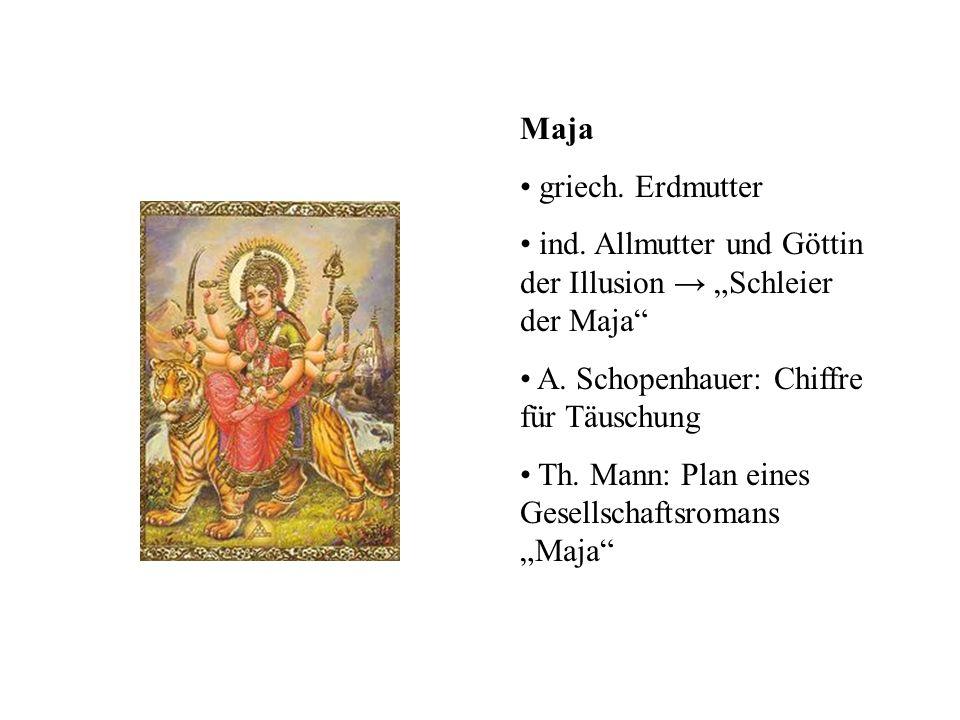 """Maja griech. Erdmutter. ind. Allmutter und Göttin der Illusion → """"Schleier der Maja A. Schopenhauer: Chiffre für Täuschung."""