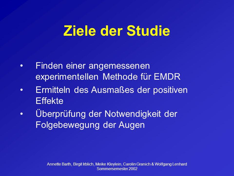 Ziele der Studie Finden einer angemessenen experimentellen Methode für EMDR. Ermitteln des Ausmaßes der positiven Effekte.