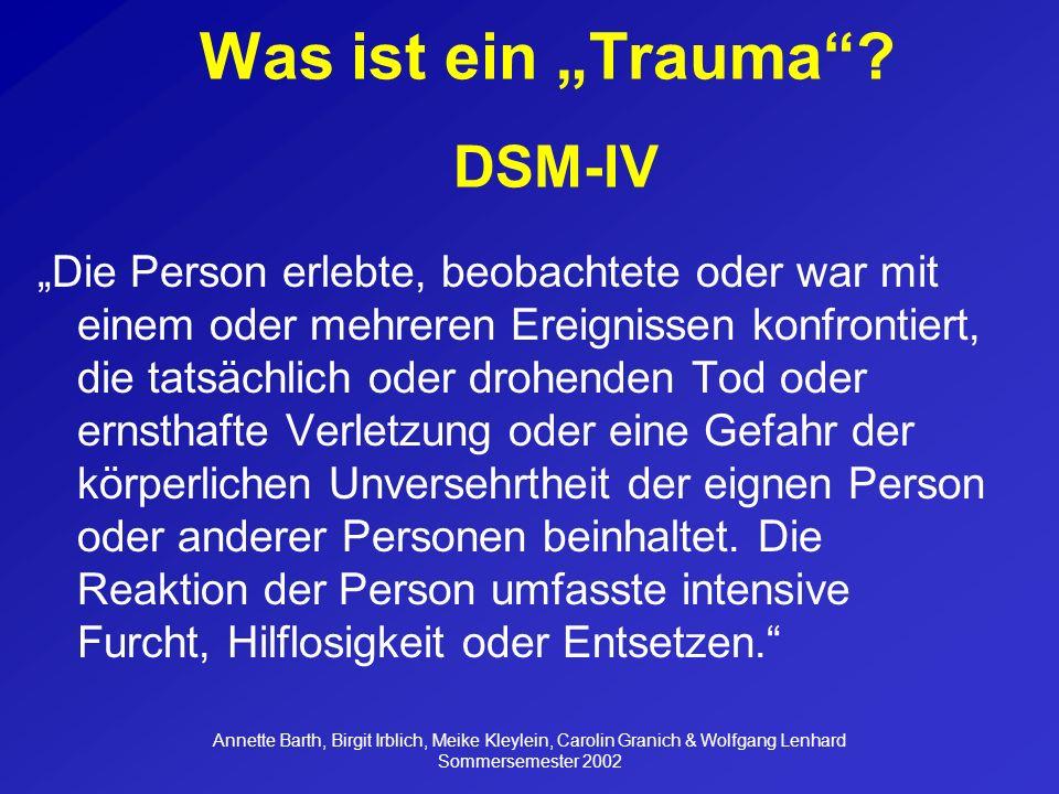 """Was ist ein """"Trauma DSM-IV"""
