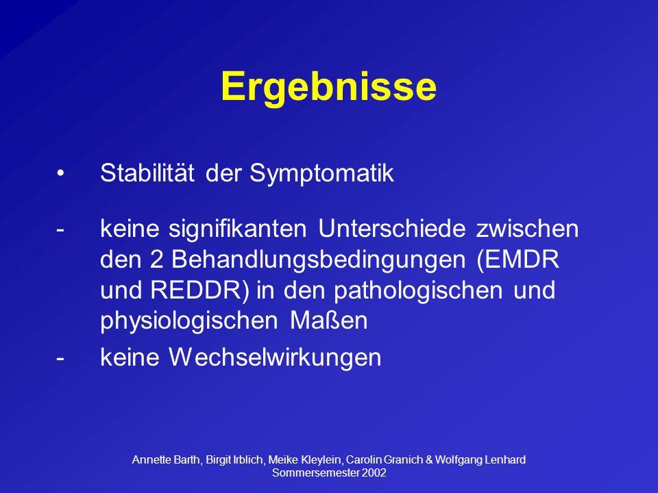 Ergebnisse Stabilität der Symptomatik