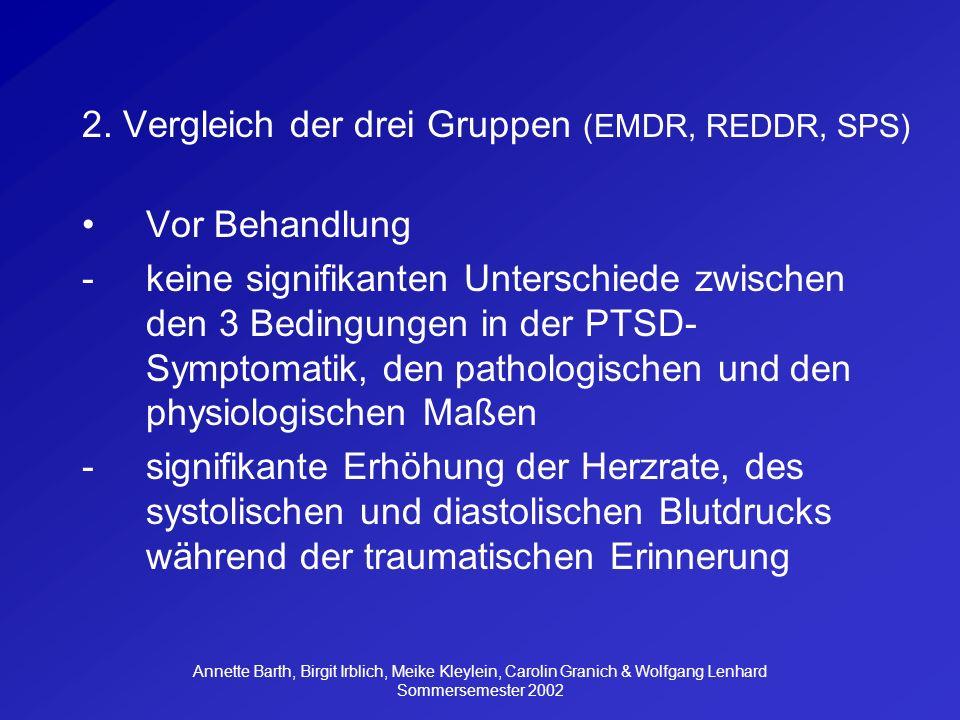 2. Vergleich der drei Gruppen (EMDR, REDDR, SPS) Vor Behandlung