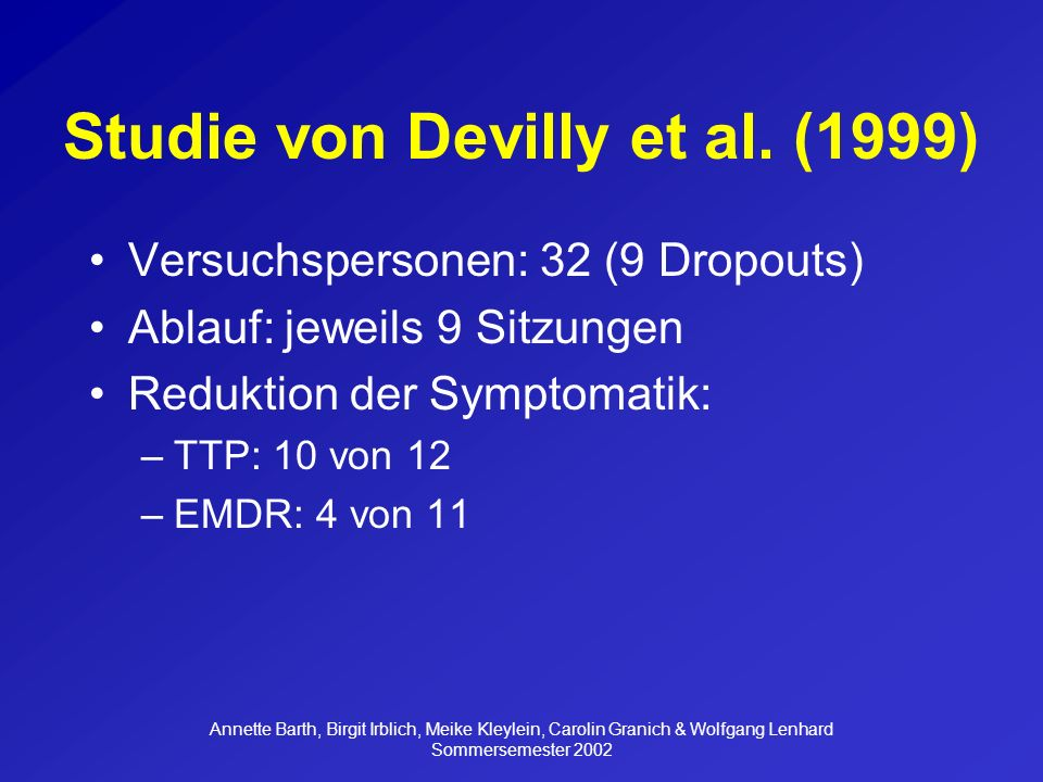 Studie von Devilly et al. (1999)