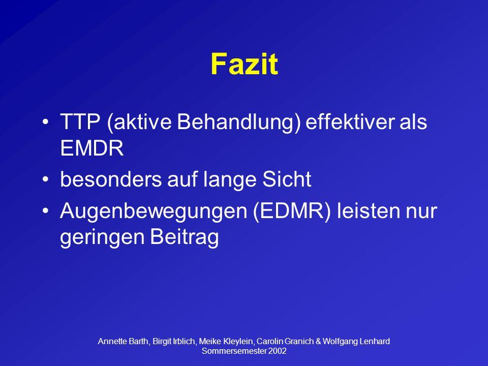 Fazit TTP (aktive Behandlung) effektiver als EMDR