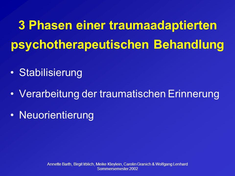 3 Phasen einer traumaadaptierten psychotherapeutischen Behandlung