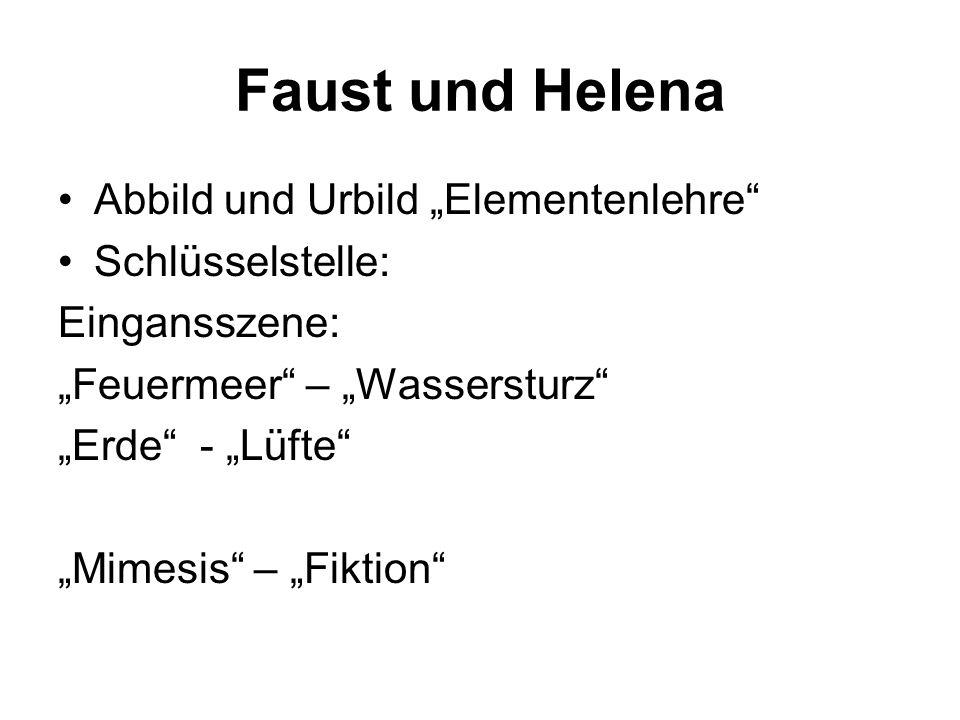 """Faust und Helena Abbild und Urbild """"Elementenlehre Schlüsselstelle:"""