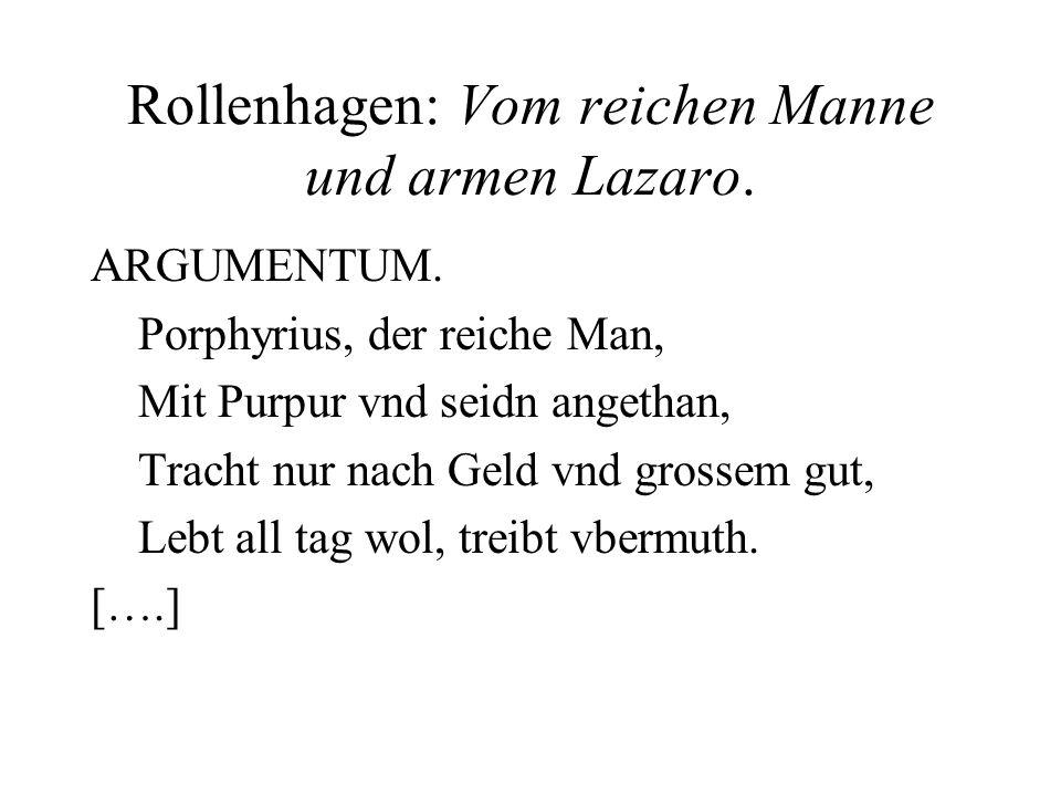 Rollenhagen: Vom reichen Manne und armen Lazaro.
