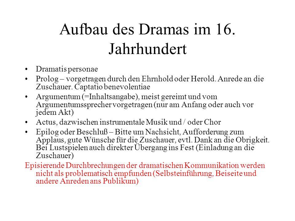 Aufbau des Dramas im 16. Jahrhundert