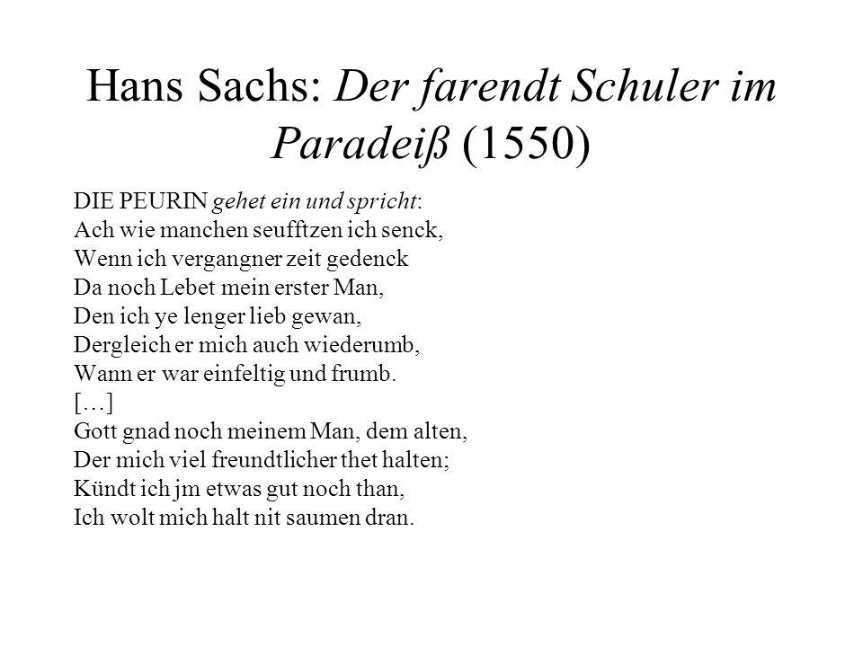 Hans Sachs: Der farendt Schuler im Paradeiß (1550)