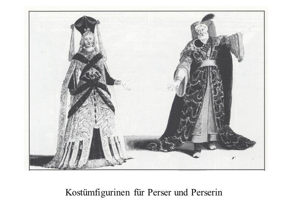 Kostümfigurinen für Perser und Perserin