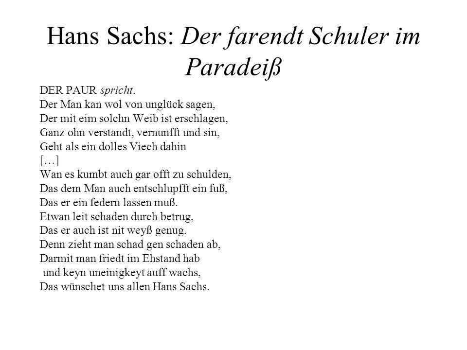 Hans Sachs: Der farendt Schuler im Paradeiß