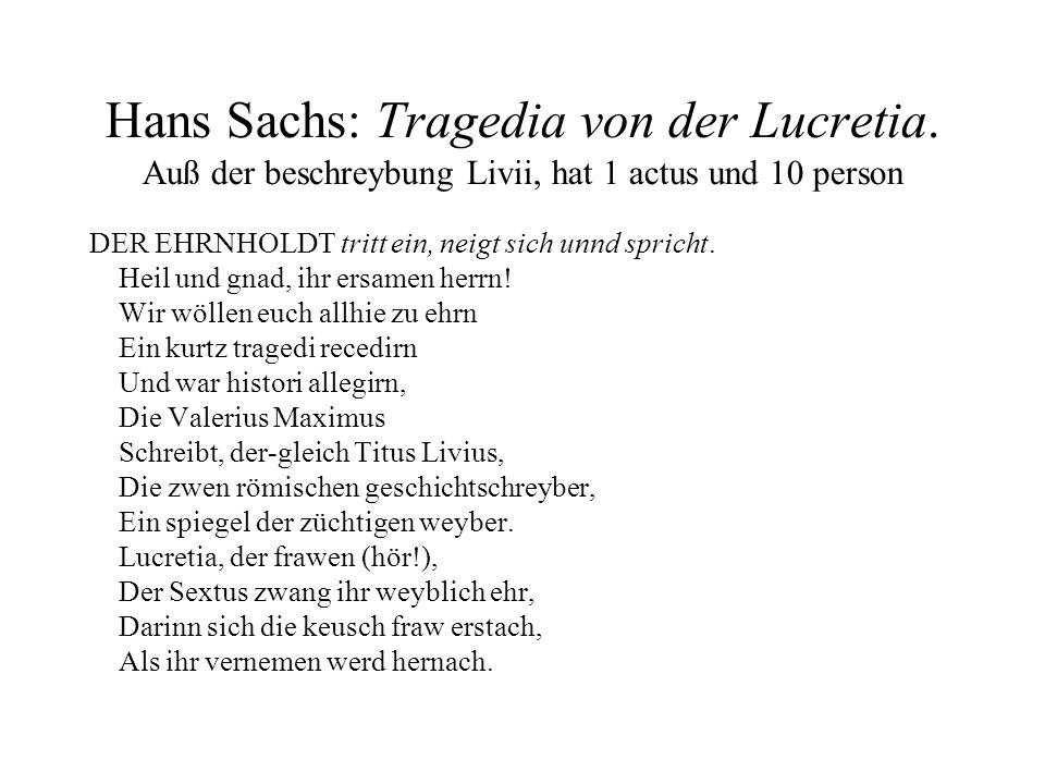 Hans Sachs: Tragedia von der Lucretia