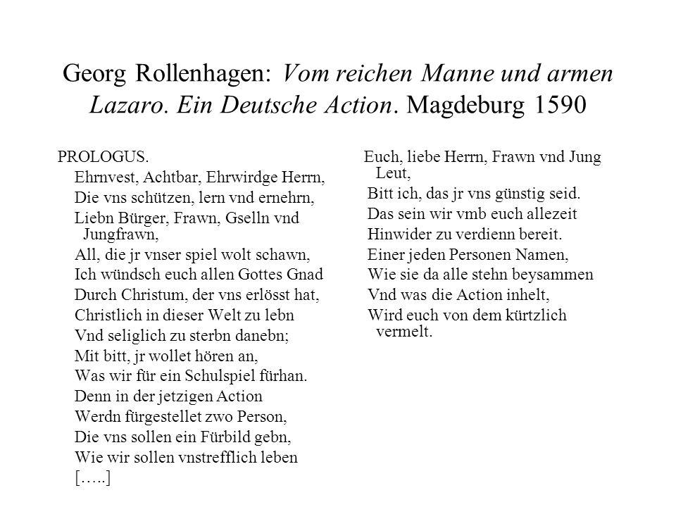 Georg Rollenhagen: Vom reichen Manne und armen Lazaro
