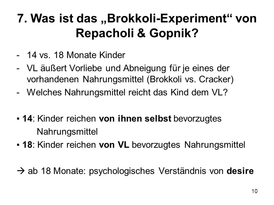 "7. Was ist das ""Brokkoli-Experiment von Repacholi & Gopnik"