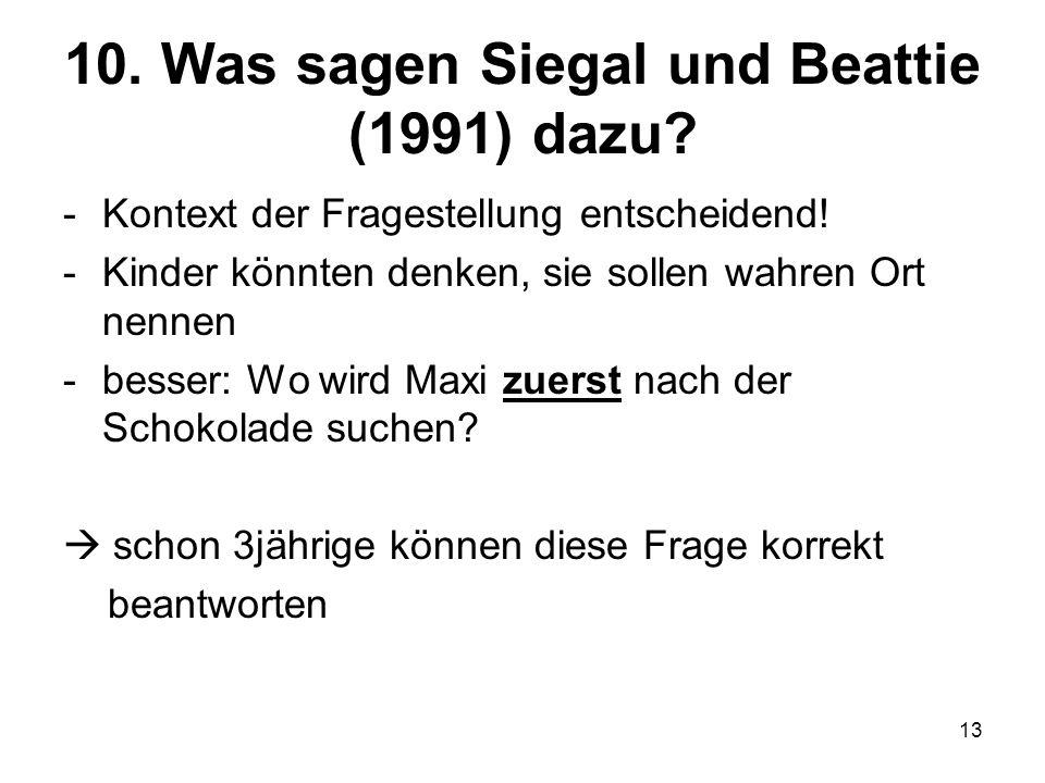 10. Was sagen Siegal und Beattie (1991) dazu