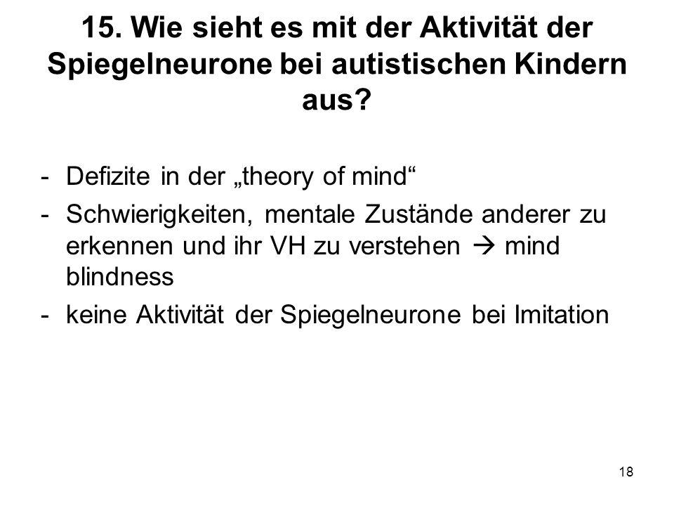 15. Wie sieht es mit der Aktivität der Spiegelneurone bei autistischen Kindern aus