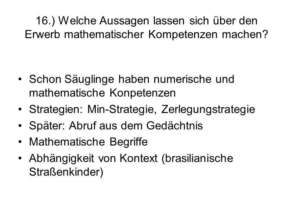 16.) Welche Aussagen lassen sich über den Erwerb mathematischer Kompetenzen machen
