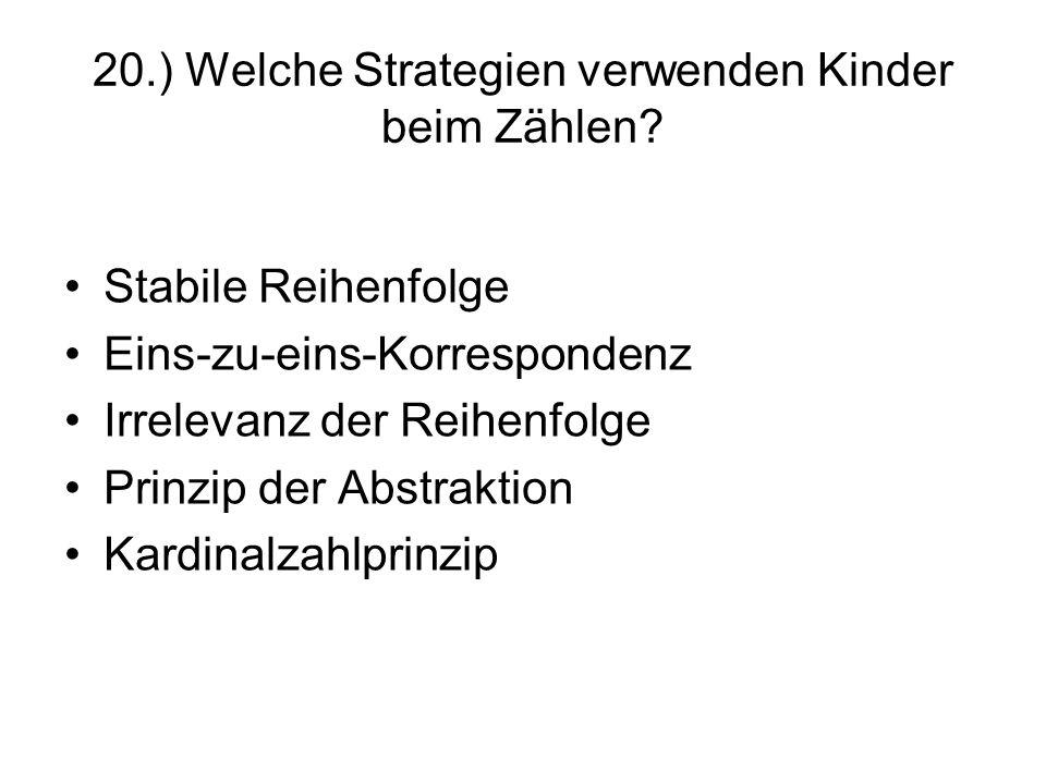 20.) Welche Strategien verwenden Kinder beim Zählen