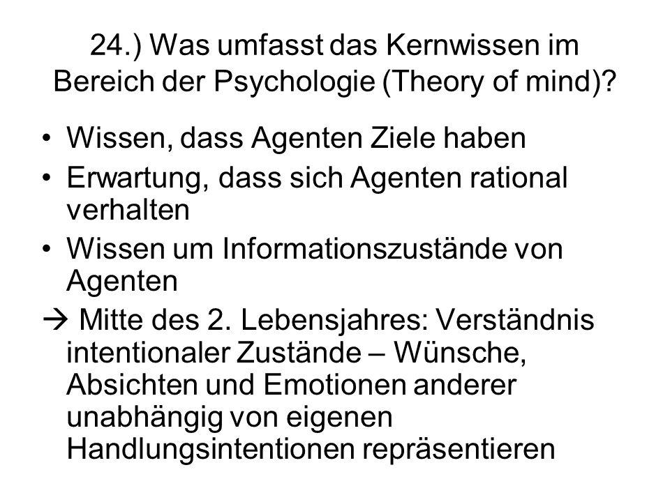 24.) Was umfasst das Kernwissen im Bereich der Psychologie (Theory of mind)