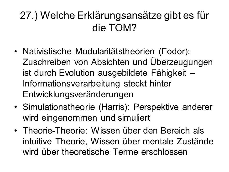 27.) Welche Erklärungsansätze gibt es für die TOM
