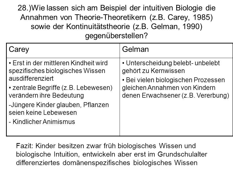 28.)Wie lassen sich am Beispiel der intuitiven Biologie die Annahmen von Theorie-Theoretikern (z.B. Carey, 1985) sowie der Kontinuitätstheorie (z.B. Gelman, 1990) gegenüberstellen