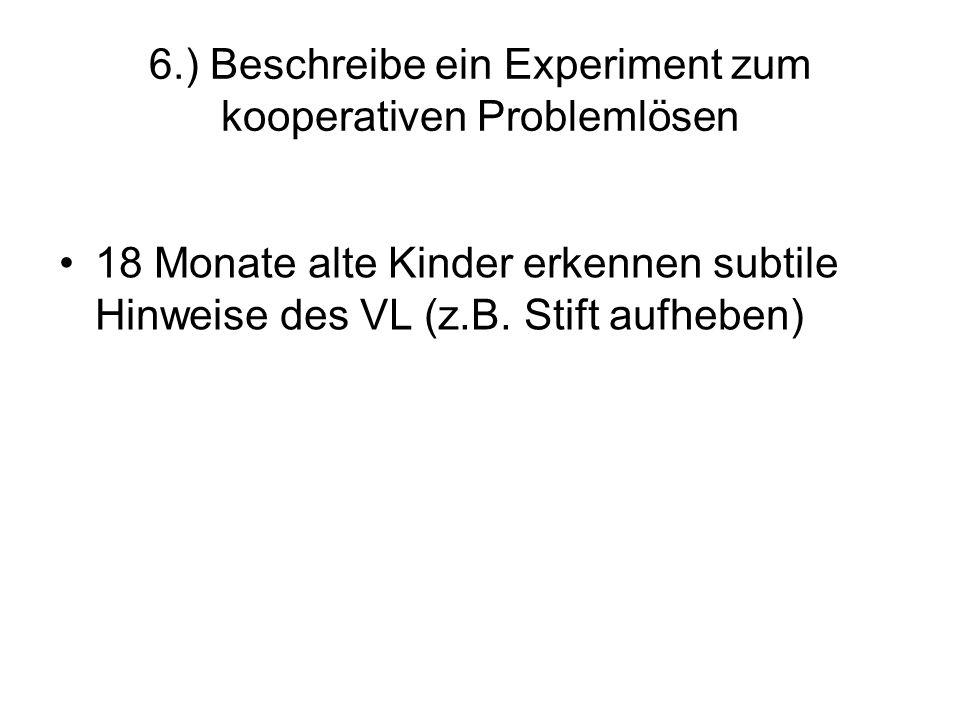 6.) Beschreibe ein Experiment zum kooperativen Problemlösen