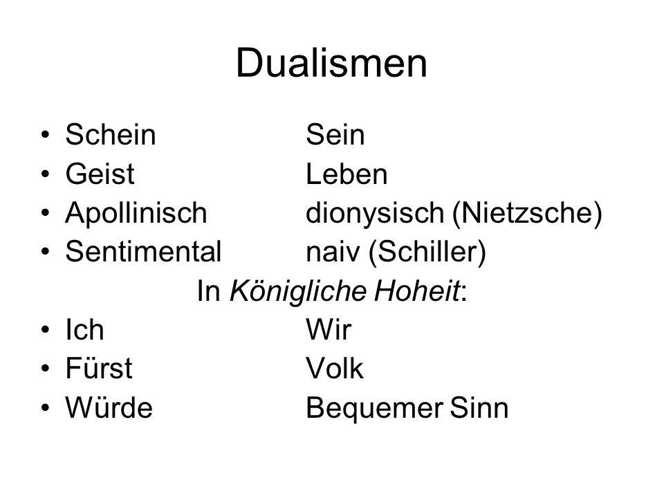 Dualismen Schein Sein Geist Leben Apollinisch dionysisch (Nietzsche)