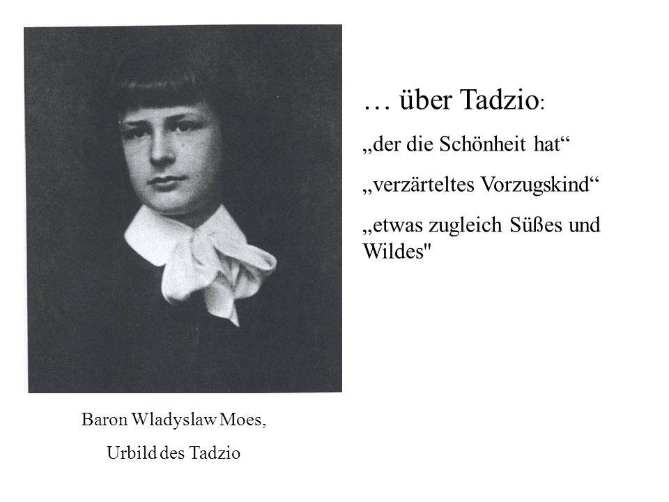"""… über Tadzio: """"der die Schönheit hat """"verzärteltes Vorzugskind"""