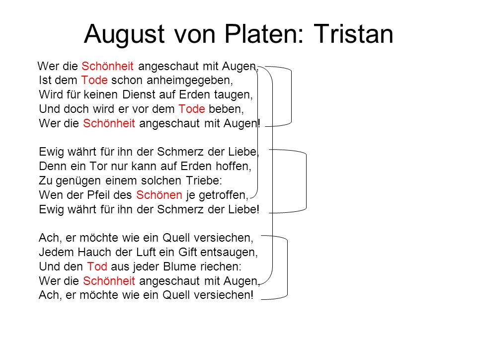 August von Platen: Tristan