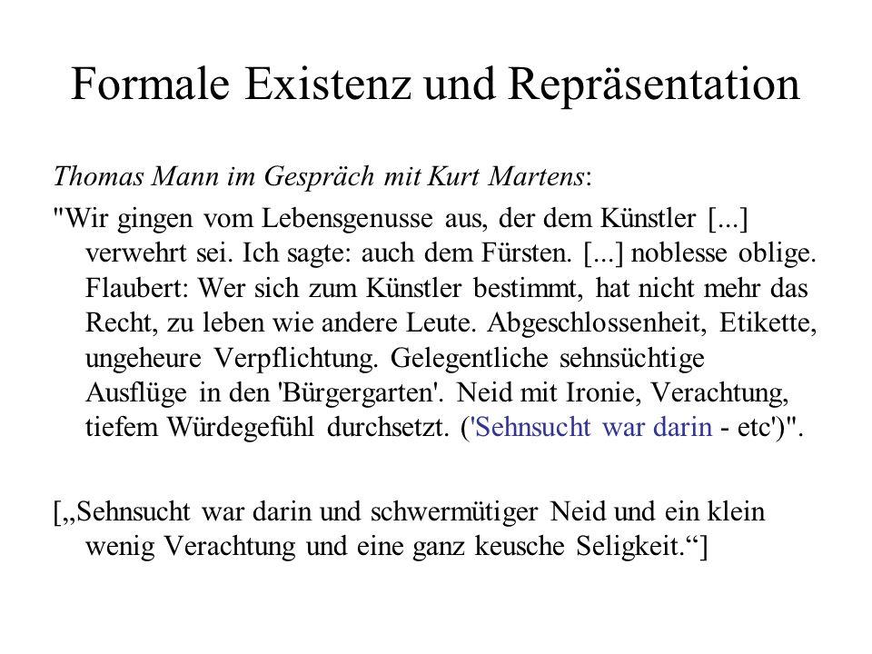 Formale Existenz und Repräsentation